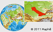 Physical Location Map of Chardzhou