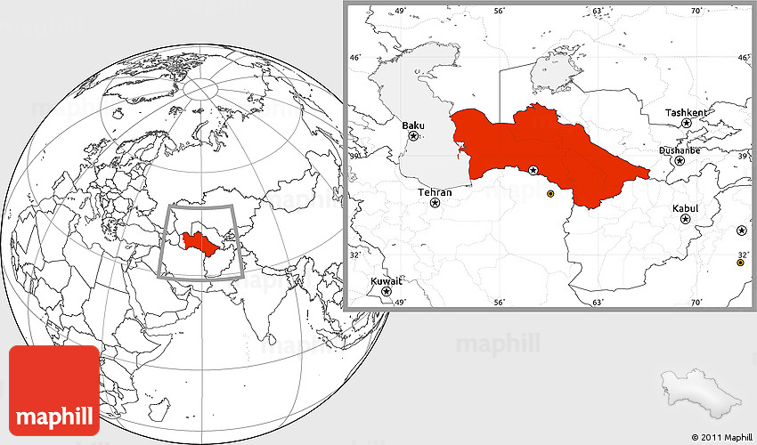 Blank Location Map of Turkmenistan