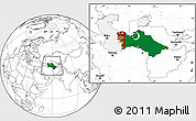 Flag Location Map of Turkmenistan, blank outside