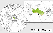 Physical Location Map of Turkmenistan, blank outside