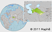 Physical Location Map of Turkmenistan, gray outside, hill shading