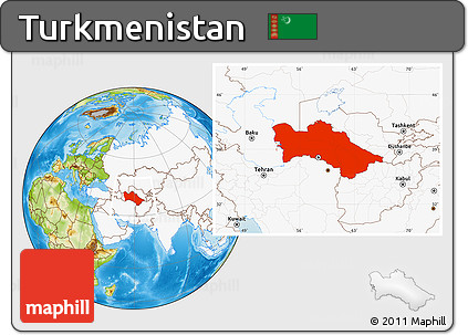 Free Physical Location Map of Turkmenistan highlighted continent