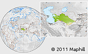 Physical Location Map of Turkmenistan, lighten, desaturated