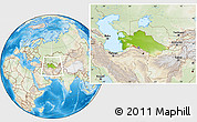 Physical Location Map of Turkmenistan, lighten, land only