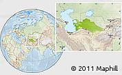Physical Location Map of Turkmenistan, lighten