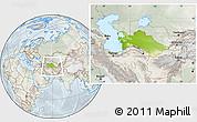 Physical Location Map of Turkmenistan, lighten, semi-desaturated