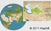 Physical Location Map of Turkmenistan, satellite outside