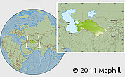 Physical Location Map of Turkmenistan, savanna style outside, hill shading