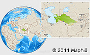 Physical Location Map of Turkmenistan, shaded relief outside