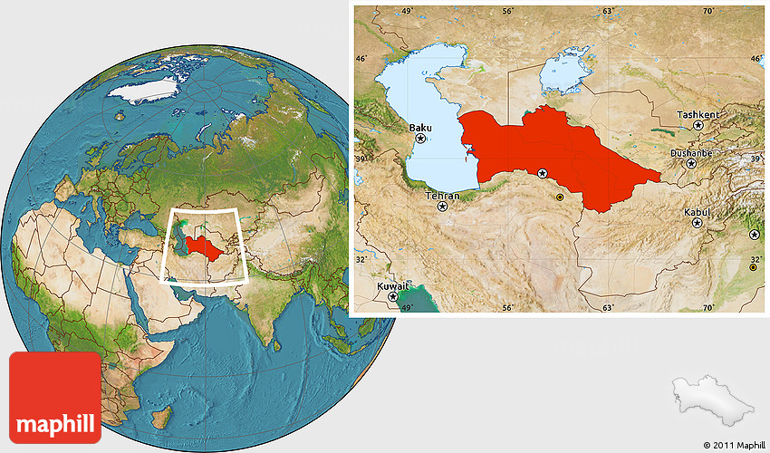 Satellite Location Map of Turkmenistan