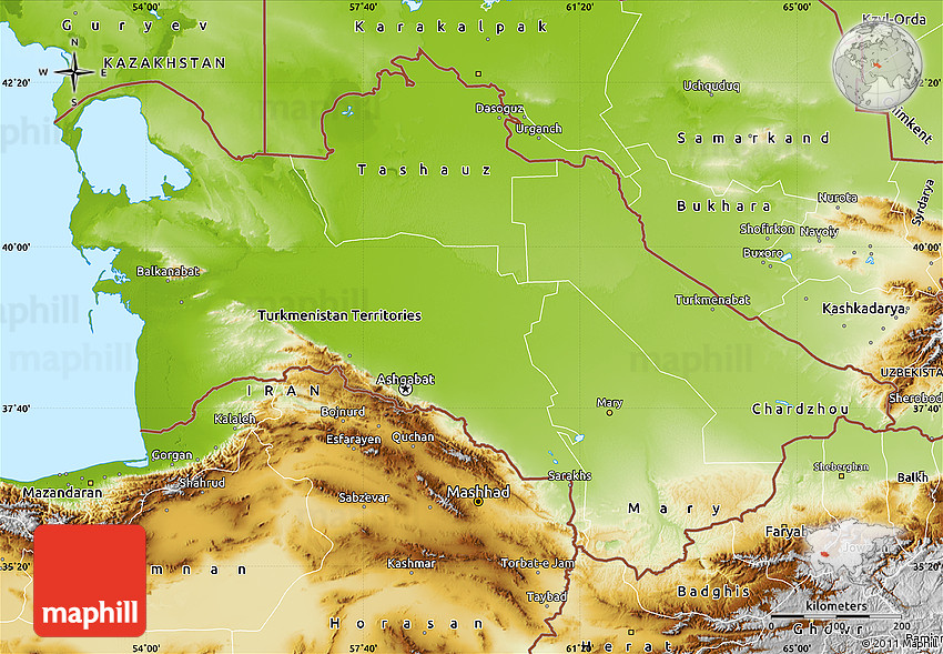 Physical Map of Turkmenistan