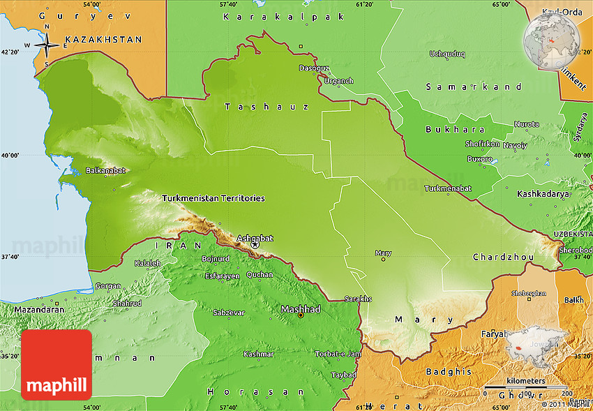 Physical Map Of Turkmenistan Political Shades Outside - Turkmenistan physical map