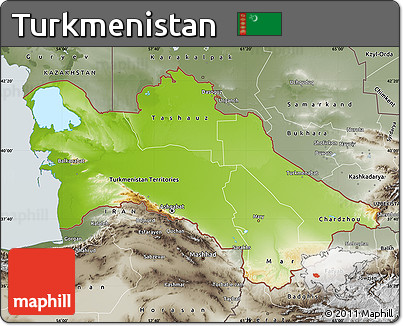 Free Physical Map Of Turkmenistan Semidesaturated - Turkmenistan physical map