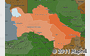 Political Shades Map of Turkmenistan, darken