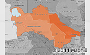 Political Shades Map of Turkmenistan, desaturated