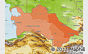 Political Shades Map of Turkmenistan, physical outside