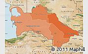 Political Shades Map of Turkmenistan, satellite outside, bathymetry sea