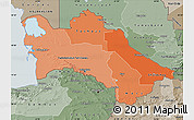 Political Shades Map of Turkmenistan, semi-desaturated, land only