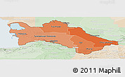 Political Shades Panoramic Map of Turkmenistan, lighten