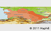 Political Shades Panoramic Map of Turkmenistan, physical outside