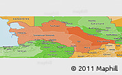 Political Shades Panoramic Map of Turkmenistan