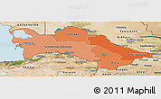 Political Shades Panoramic Map of Turkmenistan, satellite outside, bathymetry sea