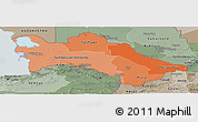 Political Shades Panoramic Map of Turkmenistan, semi-desaturated, land only