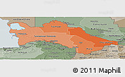 Political Shades Panoramic Map of Turkmenistan, semi-desaturated