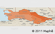 Political Shades Panoramic Map of Turkmenistan, shaded relief outside, bathymetry sea