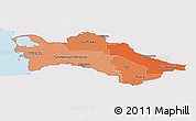Political Shades Panoramic Map of Turkmenistan, single color outside
