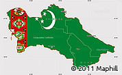 Flag Simple Map of Turkmenistan
