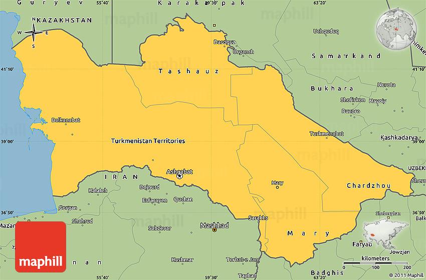 Savanna Style Simple Map of Turkmenistan