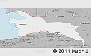 Gray Panoramic Map of Turkmenistan Territories