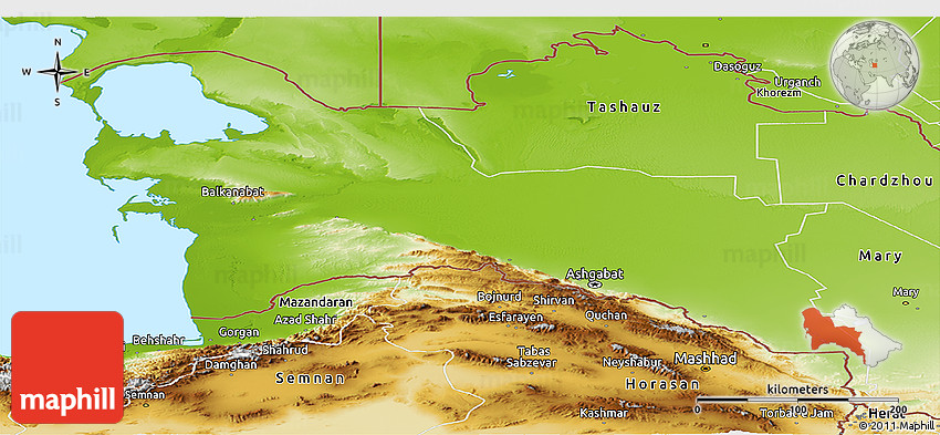Physical Panoramic Map Of Turkmenistan Territories - Turkmenistan physical map