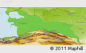 Political Panoramic Map of Turkmenistan Territories, physical outside
