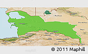Political Panoramic Map of Turkmenistan Territories, satellite outside