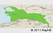 Political Panoramic Map of Turkmenistan Territories, shaded relief outside