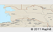 Shaded Relief Panoramic Map of Turkmenistan Territories