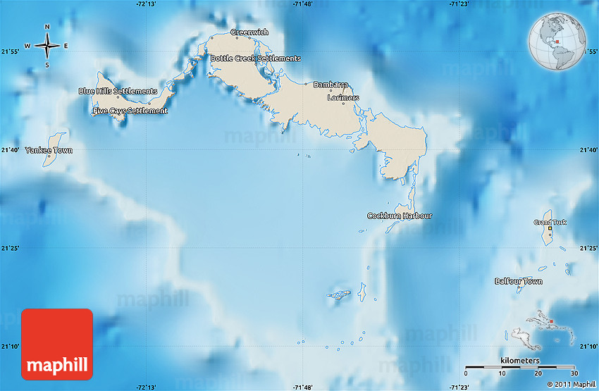 Shaded Relief Map Of Turks And Caicos Islands