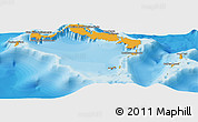 Political Shades Panoramic Map of Turks and Caicos Islands