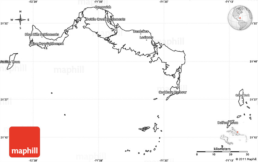Blank Simple Map of Turks and Caicos Islands