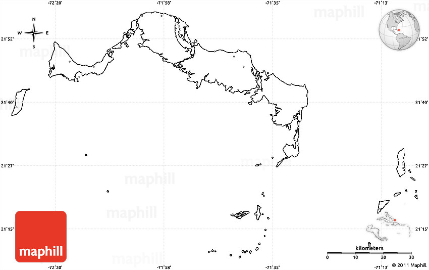 Blank Simple Map of Turks and Caicos Islands no labels