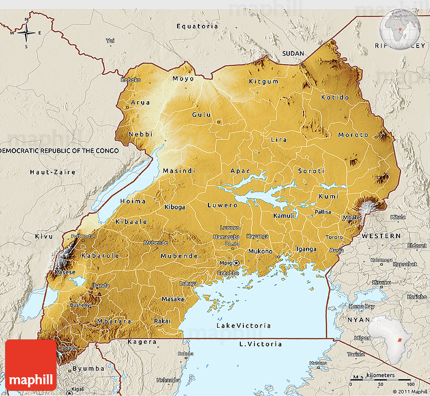 Physical D Map Of Uganda Shaded Relief Outside - Uganda map