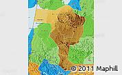 Physical Map of Bushenyi, political shades outside