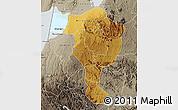 Physical Map of Bushenyi, semi-desaturated