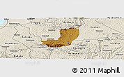 Physical Panoramic Map of Sheema, shaded relief outside
