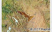 Physical Map of Rukiga, satellite outside
