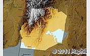 Physical Map of Kasese, darken