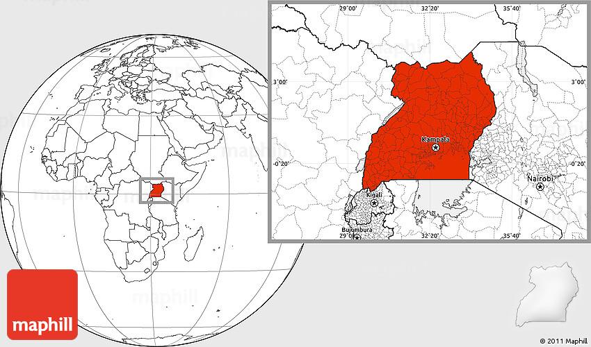 Blank Location Map of Uganda