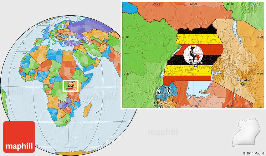 Flag Location Map of Uganda political outside